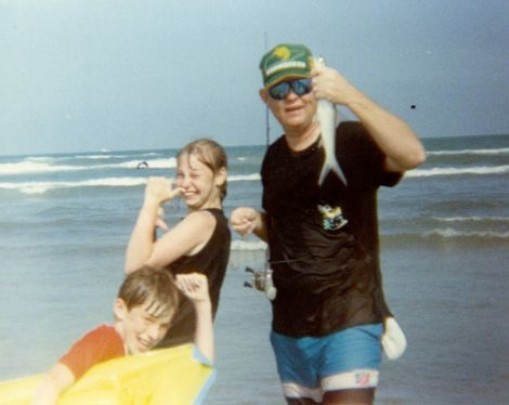 My sister, Jennifer, my dad and me playing and fishing near Port Aransas, Texas.