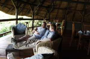 Steve and I relax on a couch overlooking the rushing waters of the Nile. I would have never embarked on this journey without Steve's encouragement and support.